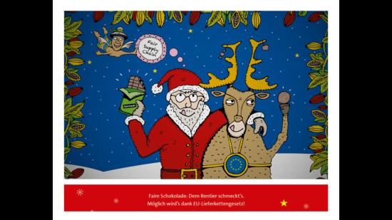 Das Bild zeigt Weihnachtsmann und Rentier