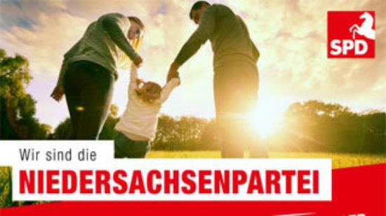 """Familie und Text """"Wir sind die Niedersachsenpartei"""""""